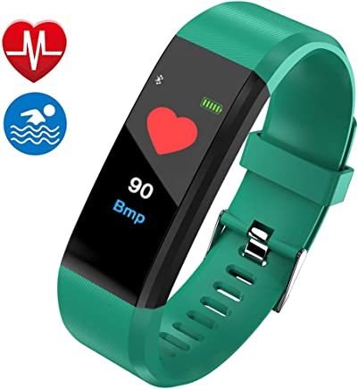 Fitness Tracker, Smart Watch, Fitness Watch,Heater Rate Monitor, Waterproof Smart Fitness Band with Step Counter, Calorie Counter, Pedometer Watch for Kids Women and Men (Green)
