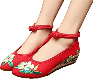 Unm Old Beijing Embroidery Point Toe Rubber Sole Women Cheongsam Shoes