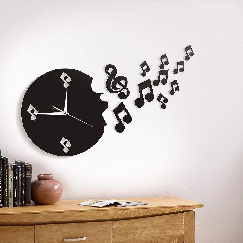 GuoEY 1 Stück Musikalische Note Flogen von Wanduhr Fliegende Noten Modernes Design Wand Uhr T Kunst Musik Studio Für Musikliebhaber GeSchnk