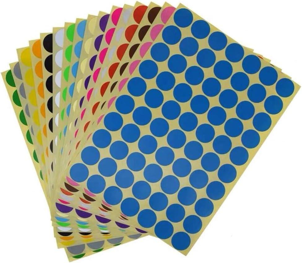 Yongbest Colorati Rotonde Cerchio,19 mm Etichette Autoadesive Rotonde Etichette Adesive Colorate Etichette per Forniture per Ufficio a Casa,16 Colori Assortiti