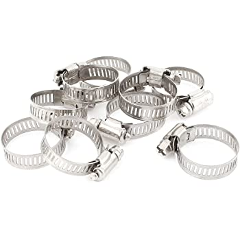 10 Piece Uxcell Metal Worm Drive Adjustable Pipe Hose Clamp Hoop 9-16mm a14082500ux0743