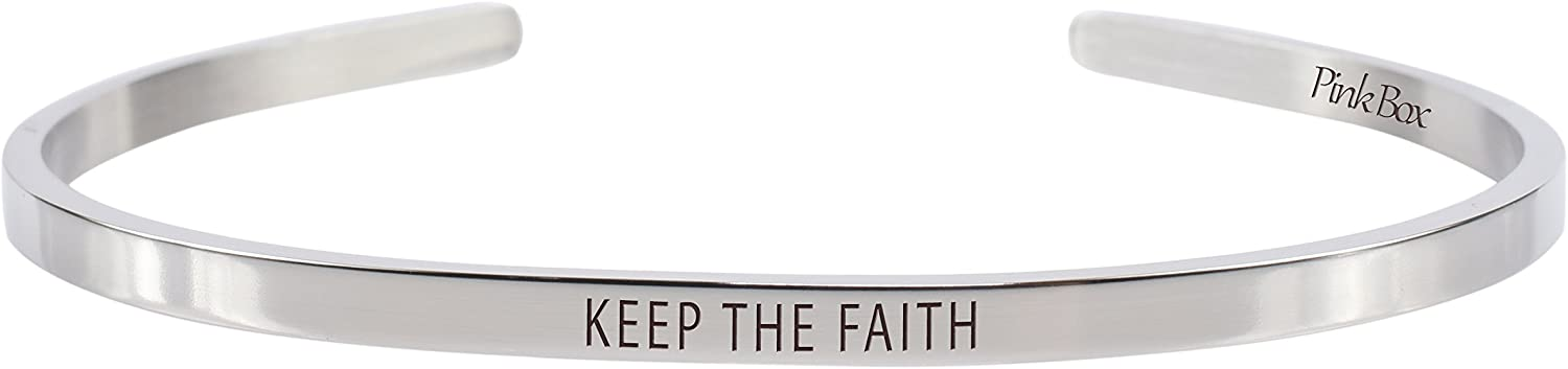 Pink Box 3mm Solid Stainless Steel Cuff Bracelet - Keep The Faith