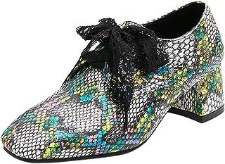 Kaizi Karzi Femmes Mode Bloc Talons Chaussures Dentellets