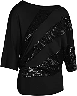 YMING Women's Summer Casual Blouse Short Sleeve Shirt Plus Size Sequin Cold Shoulder Top
