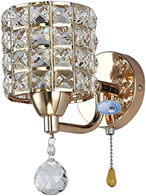 AC85-265V pull chain switch crystal wall lamp lights Modern Zipper Stainless Steel Base lighting