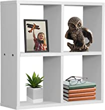 Sorbus Floating Shelf 4-Cube Organizer — Stair Wall Shelf with 4 Openings, Decorative Hanging Display for Photo Frames, Collectibles, and Home Décor (Geometric 4-Square – White)