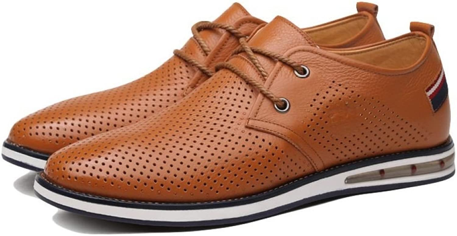 DSFGHE Mans sommar läder Lace -up -up -up skor Business Casual Low -top Round Toe svart blå gul Andable Hole Flats for män  underbar