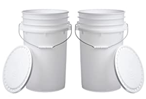 Letica 7 Gallon Large Bucket Pail Container with Easy Peel Lid, Food Grade BPA Free HDPE, Natural, 2 Pack