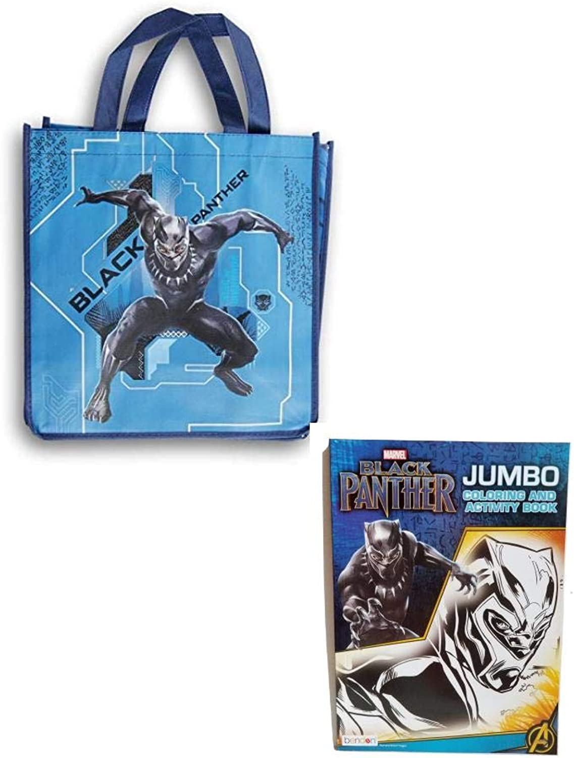 Greenbreir International Black Panther bluee Reusable Tote with Jumbo coloring and Activity Book