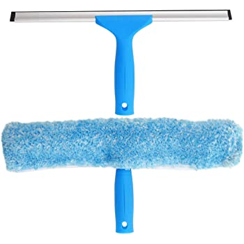 MR.SIGA Professional Window Cleaning Combo - Squeegee & Microfiber Window Scrubber, 14""
