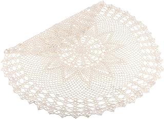 Sharplace Tablecloth Vintage Beige de Ganchillo Manteles Tapetes para Mesa a Prueba de Agua,Anti-Escaldado,Redondo Decoraciones Estera,23.62 Pulgadas