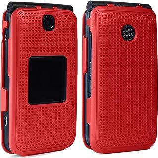 Case for Alcatel Go Flip V, Nakedcellphone [Red] Protective Snap-On Cover [Grid Texture] for Alcatel Go Flip, MyFlip 4G, Q...