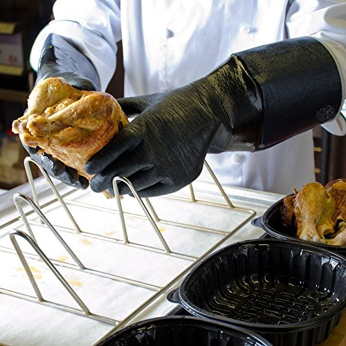 RAPICCA BBQ Gloves 14 Inches,700℉,Heat Resistant for Smoker/Grill/Cooking/Barbecue/Fry Turkey/Pot Holder/Oven mitt/Baking, Waterproof Neoprene Coating with Textured Palms Long Sleeve(XL)