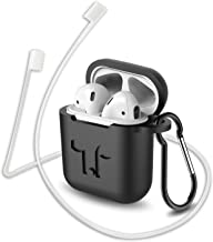 Compatible for AirPods Case with Keychain, Shockproof Protective Premium Silicone Cover Skin for AirPods Charging Case (Black)