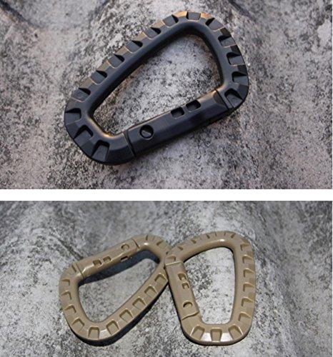 10/Lot) tactique en forme d Alpinisme Boucle à clip en plastique à suspendre en acier Mousqueton d'escalade Porte-clés crochet EDC Gear