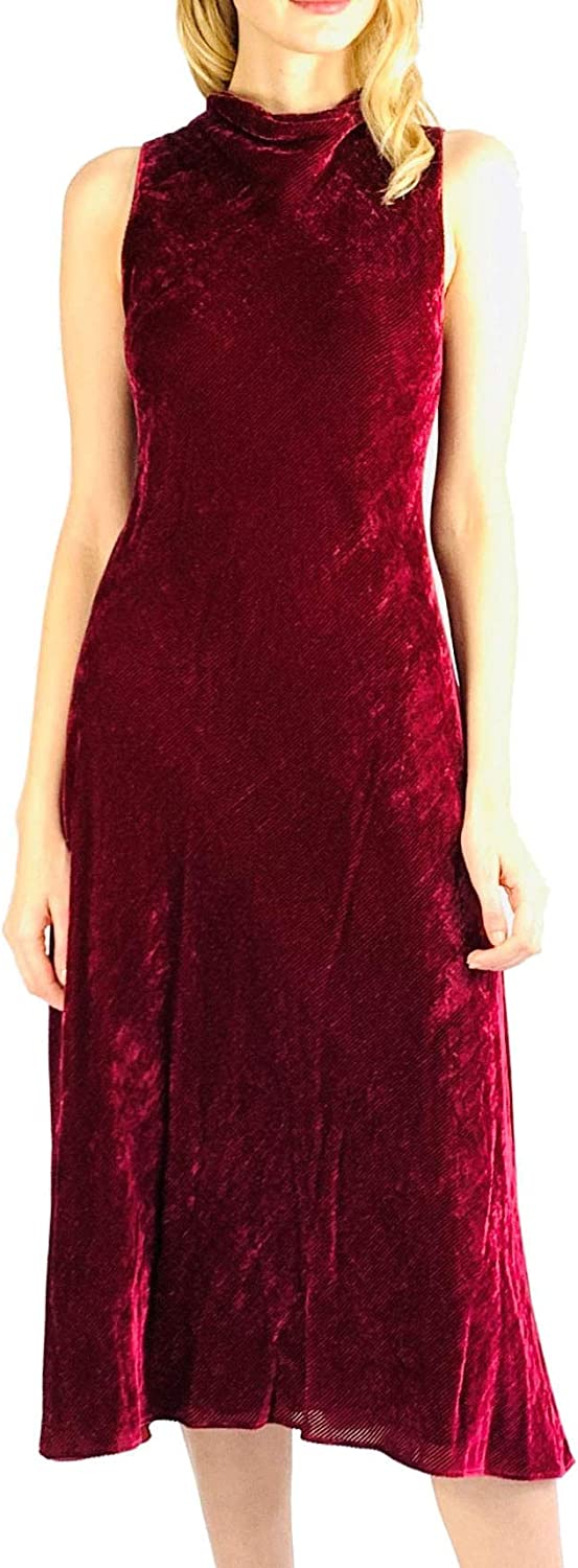 Sies Marjan Burgundy Fit and Flare Cocktail Party Midi Dress