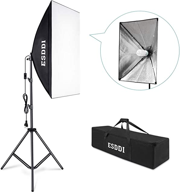 ESDDI Softbox Kit Luz de Iluminacion Estudio Fotografia con 1 Lampara Fotografia 85W 1 Ventana de Luz 50x70cm 1 Tripodes 1 Bolsa de Transporte