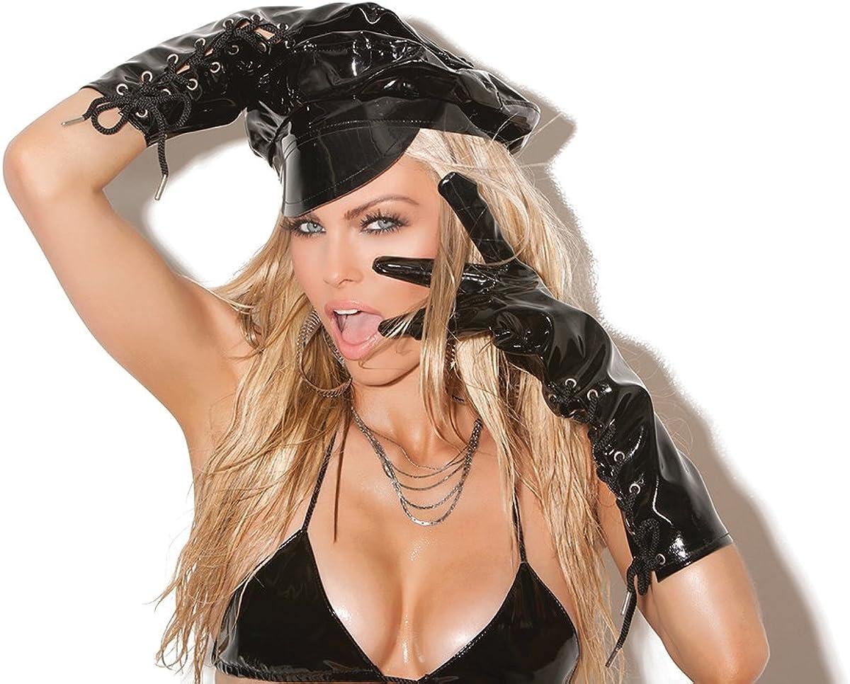 Zabeanco Women's Lace Up Vinyl Gloves Black