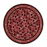Casa Moro Orientalischer Gartentisch marokkanischer Mosaiktisch Ø 60 cm glasiert Bordeaux Sterne mit Gestell H 73 cm Kunsthandwerk aus Marokko Bistrotisch Beistelltisch Balkontisch MO10006