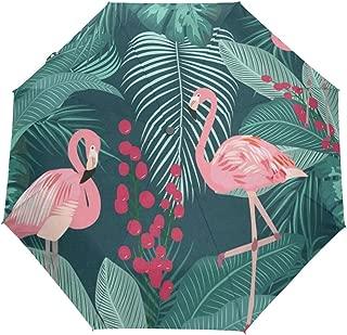 Rain-Love Garrett Parker Flamingo Compact Travel Umbrella,Windproof, Reinforced Canopy,3 Folds Auto Open/Close Anti-UV Umbrella