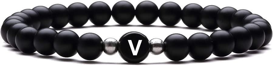 J.Fée Lettre Charme Bracelet Stretch Agate Noir Mat Onyx 6mm Perles Unisexe Cadeau d'anniversaire avec Sac à Bijoux et Carte de Sens