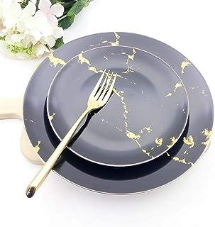 WBFN Vaisselles Assiettes, Dîner Céramique Marbre Or microplaques Pasta Steak Ronde Nordique Brief Plaques de Luxe Art de ...