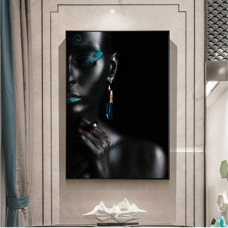 punto de venta Mmbj Mmbj Mmbj Maquillaje Dorado Inicio Arte de la Parojo Impresiones de la Lona Negro Nias Arte Lienzo Pinturas de la Parojo Africana para la Sala de Estar decoración 80x100cm  80% de descuento