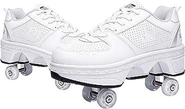 Modway Rolschoenen Casual Sneakers, 2 in 1 Quad Wheel Deformation Roller Schoenen, Verstelbare Klassieke Premium Rolschaat...