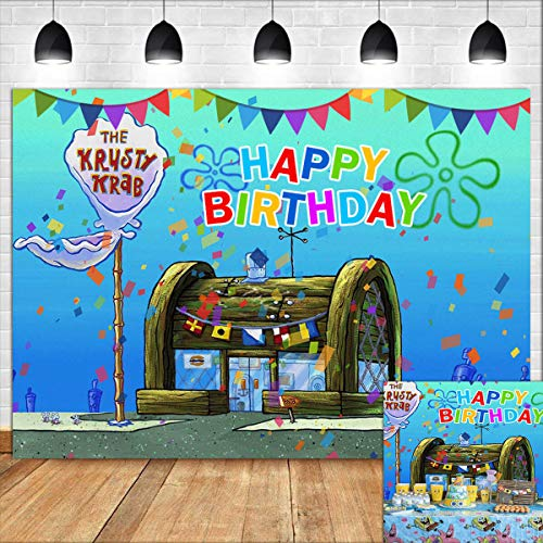 Cartoon Blue Water Sea The Krusty Krab Photography Backdrop Vinyl 7x5ft Animation Spongebob Themed Photo Background for Kids Happy Birthday Banner Cake Table Decor Photo Booth Props