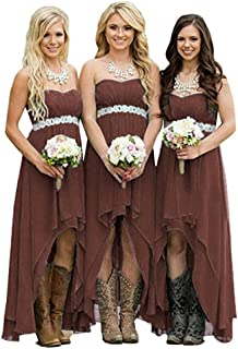 Coutry Style High Low Chiffon Wedding Bridesmaid Dresses