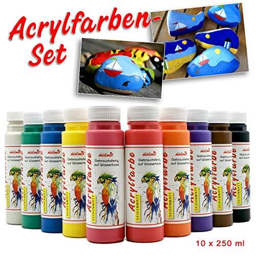 Play malmit® Acrylfarbe 10er Set je 250ml Malfarbe Seidenmatt Bastel Kinder Farbe