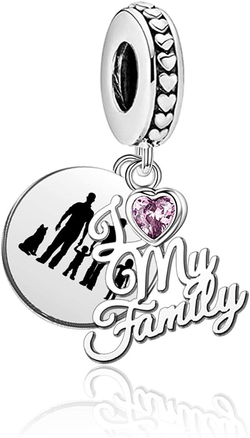 YSAHan I Love My Family Charms Dangle Engraved Dad Mom Son Daughter Pet Dog Images Bead fit Pandora Bracelet Necklace