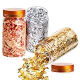 tchrules Gold Foil Gilding Flakes Set, Color Imitation Gold, Silver, Copper Flakes for Nails, Painting Arts, Gilding, Home Decoration, Slime and Resin Jewelry Making(Gold, Silver, Copper Colors)