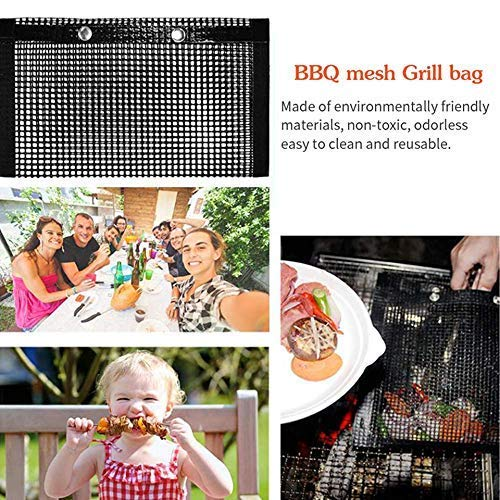 PIVFEDQX Exquisite 2 Pcs BBQ Grill Mesh Bag with 2 Pcs Silicone Brush, Non-Stick Heat-Resistant Reusable Easy to Clean Mesh Backing Bag for Outdoor Picnic Cooking Barbecue