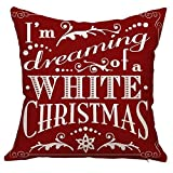Huacel Christmas Pillows, Christmas Gift 2019 Happy New Year Merry Christmas Letters Linen Cushion Cover Fabric Pillow Case Cushion Decorative for Couch Sofa Pillowcase 18x18 Inch - Pattern 16