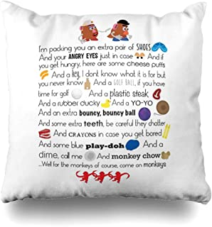 Ahawoso Throw Pillow Cover Square 20x20 Inches Mr and Mrs Potato Head Decorative Pillow Case Home Decor Pillowcase