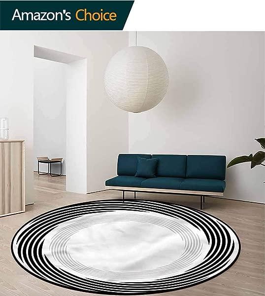 RUGSMAT Spires Area Rugs Traditional Design Abstract Art Theme White Non Skid Bath Mat Living Room Bedroom Carpet Diameter 35