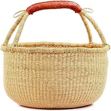 "Fair Trade Ghana Bolga African Dye-Free Fully Shaped Market Basket 14-16"" Across, 20267, Made in Bolga, Ghana, West Afric"