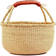 """Fair Trade Ghana Bolga African Dye-Free Fully Shaped Market Basket 14-16"""" Across, 20267, Made in Bolga, Ghana, West Africa Exclusively for: Fair Trade Gifts and Home Decor"""