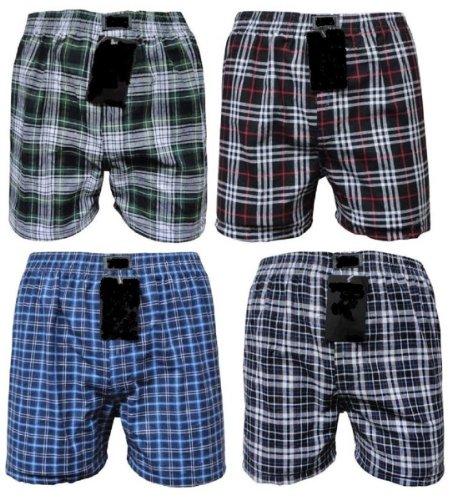 Tobeni® pak van 6 American boxershorts voor heren met trendy geruit look in 100 katoen
