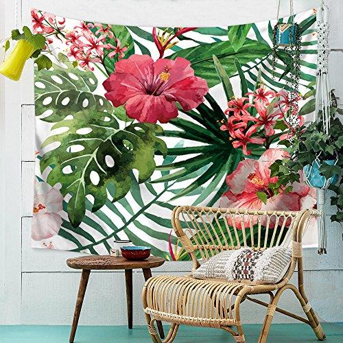Tropical avec feuilles Fleurs Tapisserie Motif Paysage plantes Tapestry Tapisserie Tenture murale Nappe de table Serviette de plage 200x150cm 1