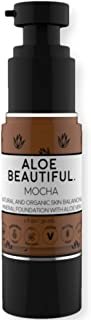Organic Liquid Mineral Foundation Makeup with Aloe - All Natural Vegan Gluten Free Ingredients - Made In USA, Mocha