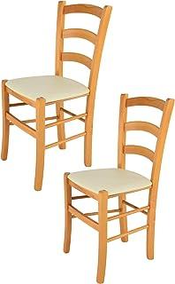 Tommychairs - Set 2 sillas Venice para Cocina y Comedor, Estructura en Madera de Haya Color Miel y Asiento tapizado en Polipiel Color Marfil