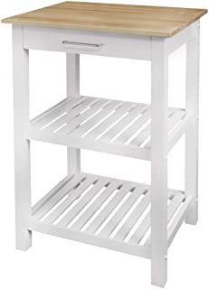 """Casual Home Sunrise (Small) with Solid Maple Top Kitchen Island, 22.75""""W, Natural&White"""