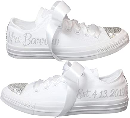 b2da0b0e9016d Wedding Sneakers BLINGED OUT Personalized CHUCKS with Swarovski Crystals  Custom for Quinceañera or Prom