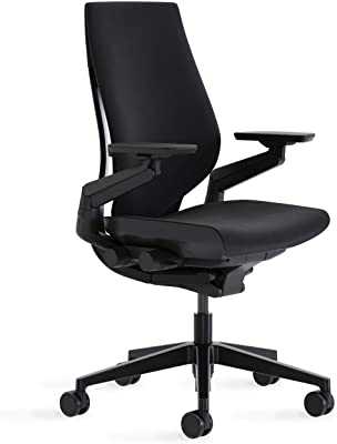 Steelcase Gesture Office Chair - Cogent: Connect Licorice Fabric, Medium Seat Height, Wrapped Back, Dark on Dark Frame, Lumbar Support