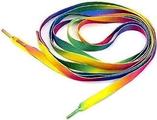 Herrer Rainbow Multicolor Flat Canvas Athletic Shoelace Sport Sneaker Shoe Laces Boots Strings (1Pair, 2 Pcs)