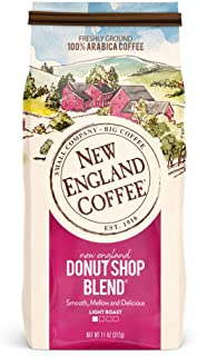 New England Coffee New England Donut Shop Blend, Light Roast Ground Coffee, 11 Ounce (1 Count) Bag