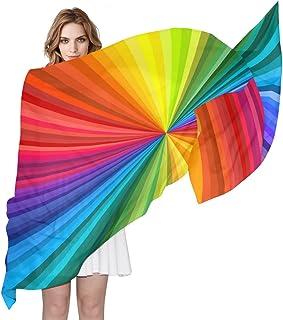 AUUXVA Rainbow Abstract Tie Dye Women Silk Scarf Lightweight Long Soft Chiffon Shawl Wrap Neck Scarves Muffler for Ladies ...