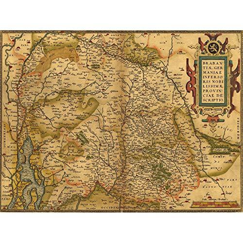 Wee Blue Coo Kaart Oude Vintage Duitsland Nederlands Brabant Heilige Roomse Rijk Grote Ingelijste Print